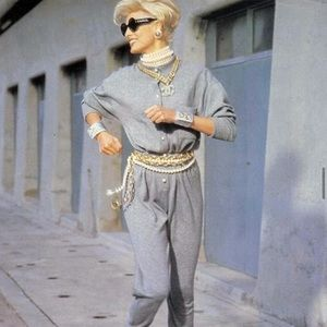 Iconic Chanel Fall 1991 Grey White Pearl Jumpsuit
